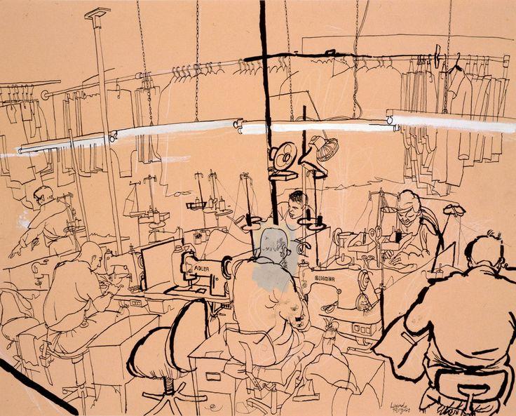 lucinda rogers drawing ink watercolour leatherworkers spitalfields london workshop city life