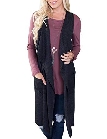 944d65bebbd0f New MEROKEETY Women s Sleeveless Open Front Knitted Long Cardigan Sweater  Vest with Pocket online.   23.99  34 offers on top store