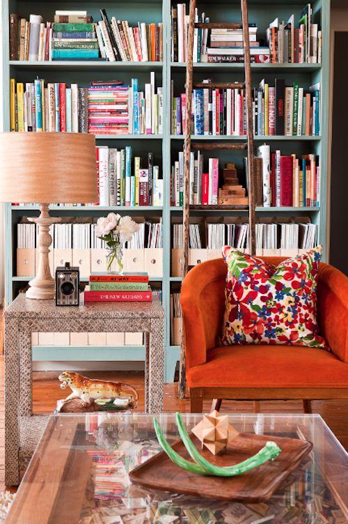 Libraries, Bookshelves, Colors, Interiors Design, Living Room, Bookcas, Orange Chairs, Book Shelves, End Tables