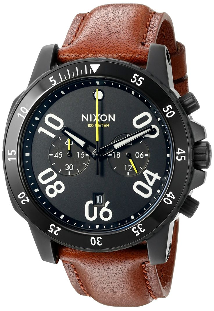 Nixon Men's A940712-00 Ranger Chrono Leather Analog Display Quartz Gold Watch. Rugged design for an outdoor lifestyle, detailed in a contemporary appearance. 5-hand chronograph, 24-hour and 30-minute subdials, countdown timer and date window at 6 o'clock. Quartz Movement. Case Diameter: 44mm. Water resistant to 100m (330ft): in general, suitable for swimming and snorkeling, but not diving.