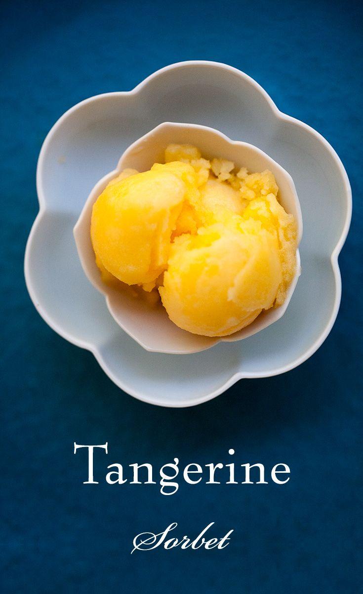 Tangerine Sorbet ~ So easy! Tangerine sorbet made from fresh tangerine juice, lemon juice, and sugar. ~ SimplyRecipes.com