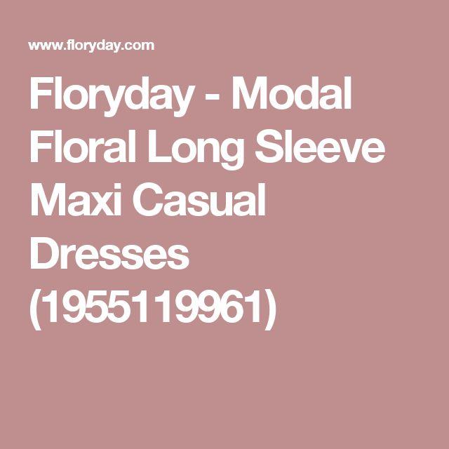 Floryday - Modal Floral Long Sleeve Maxi Casual Dresses (1955119961)