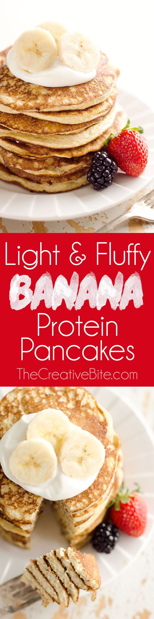These pancakes are a healthy breakfast with five simple ingredients that taste amazing and fill you up! Egg whites, protein powder and ripe bananas make up these low-fat and low-carb pancakes for a complete and wholesome meal under 200 calories.