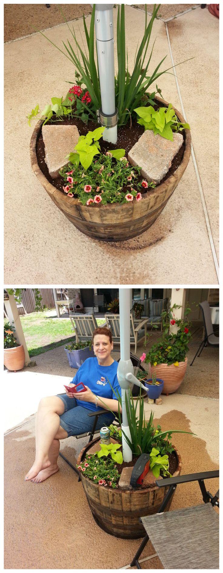 Planter Umbrella Stand #decoration #gardening #flowers #patio