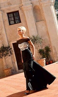 linea raffaelli, lang zwart avondkleed