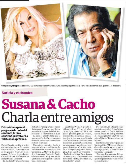 HOY en el diario Clarín - Susana Giménez & Cacho, Charla entre amigos. Entrevistada para el programa de radio del cantante, la diva confirmó que volverá a Telefe el año próximo. #Su #Susana #SuGimenez #SusanaGimenez #Cacho #CafeLaHumedad #radio #entrevista #diarioclarin @clarincom #diva @telefeoficial @la2x4 #buenosaires #argentina #noviembre #2015