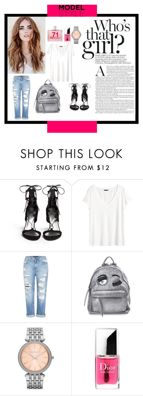 """Untitled #109"" by popescu-io on Polyvore featuring Stuart Weitzman, H&M, Genetic Denim, Chiara Ferragni, MICHAEL Michael Kors, Christian Dior and Comme des Garçons"