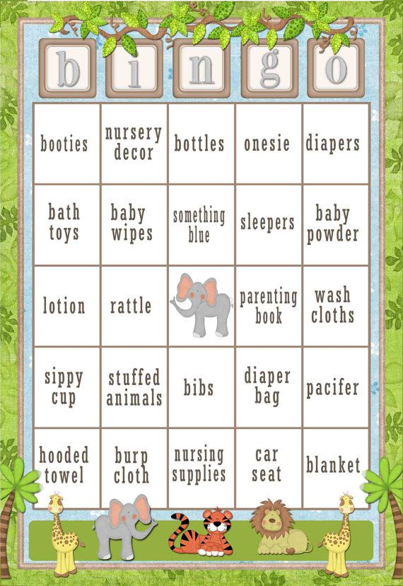 60 card Jungle Baby Shower Bingo Safari by SunnysideCottageArt