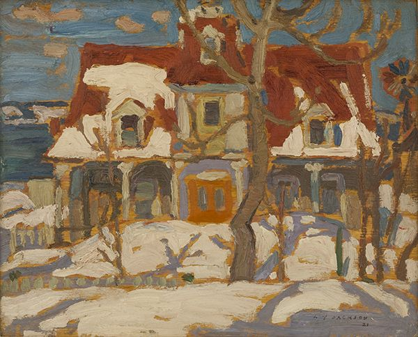 A.Y. Jackson - A House in Cacouna 8.5 x 10.5 Oil on board (1921)