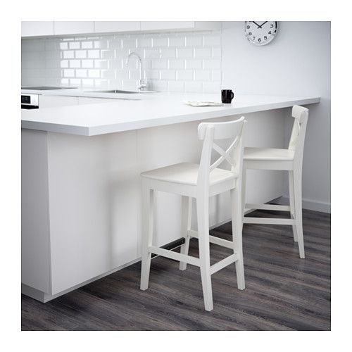 INGOLF Bar stool with backrest, white white 24 3/4