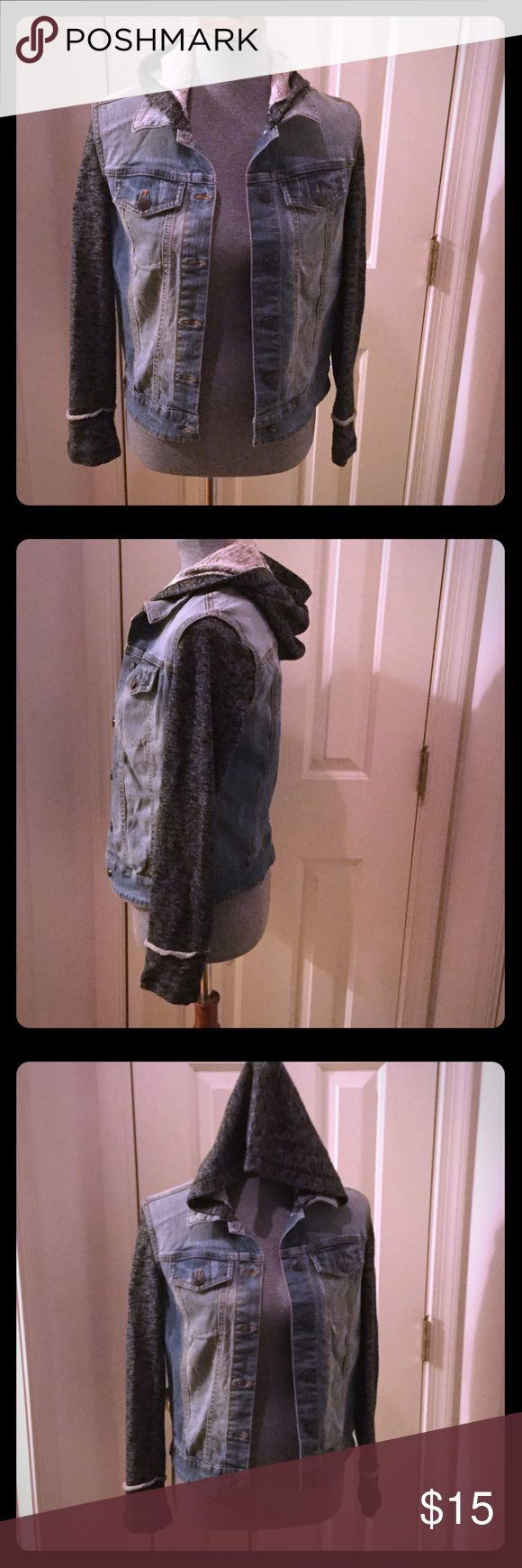 Mossimo Hooded Jean Jacket Jean jacket with gray sleeves and hood. Gently worn. Mossimo Supply Co Jackets & Coats Jean Jackets