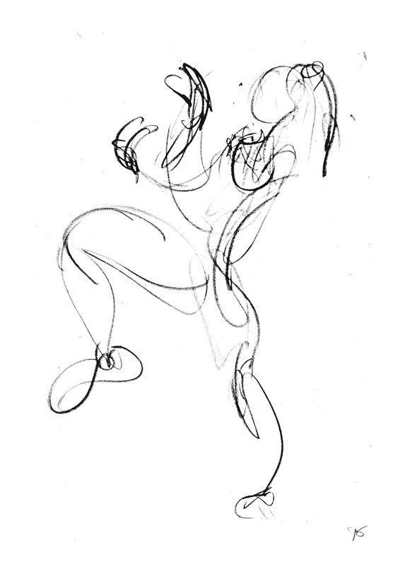 Art Print of Original Charcoal Sketch.Dynamic.Movement.Giclee Print.Ineke de Vries.Dancing Girl.Wall Art.Australia.Home Decor.