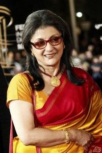 Aparna Sen elegant in red and yellow sari