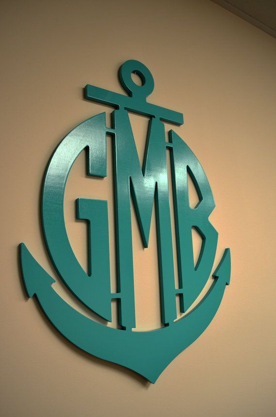 Large 26 Inch Wooden Anchor Monogram Wall Hanging by ACharmedNest