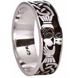 Silver Celtic Claddagh Band Ring Unisex Mens Ladies