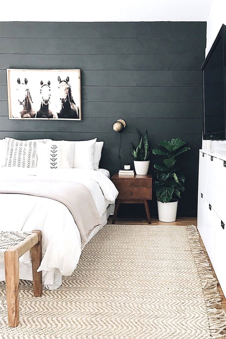 Dark Moody Mid Century Modern Bedroom Decor Black Wall In 2020