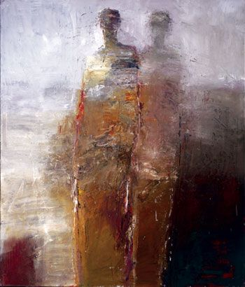 """Dan McCaw  """"Transitions""""  40"""" x 34"""" Oil /   This looks a lot like an acrylic painting of mine called """"Sisters"""" which I gave to my sister."""