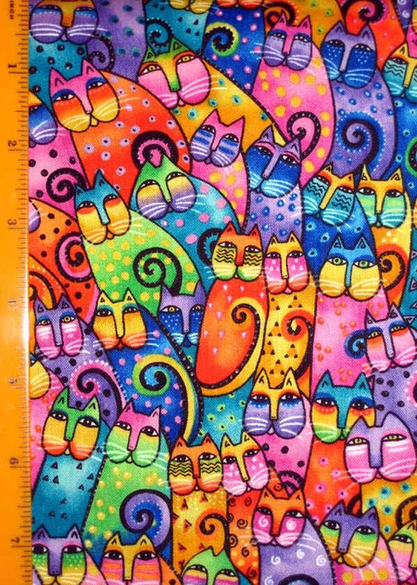 colorful cat quilt fabric by Laurel Burch