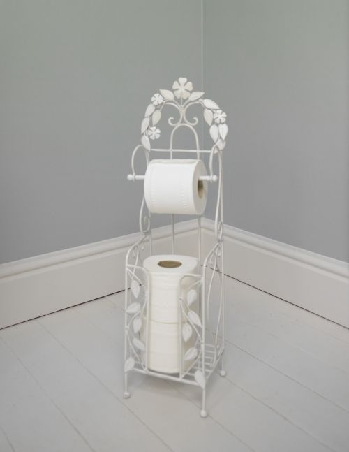 Ivory Floral Toilet Roll Holder Bathroom Toilet Paper