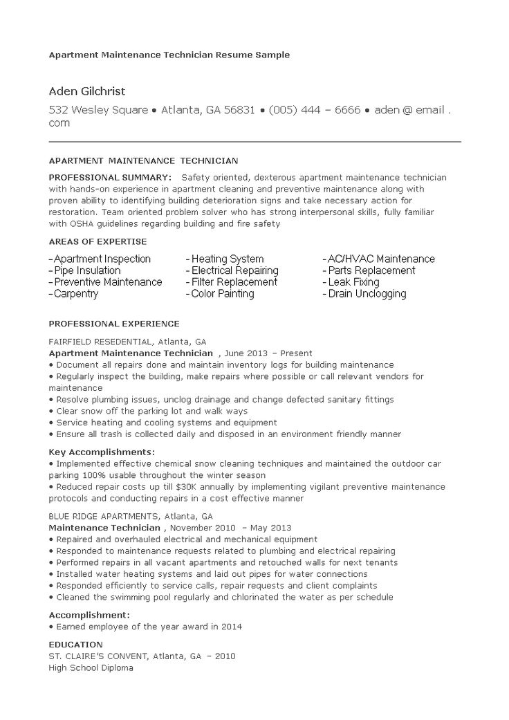 Apartment maintenance resume how to create an apartment
