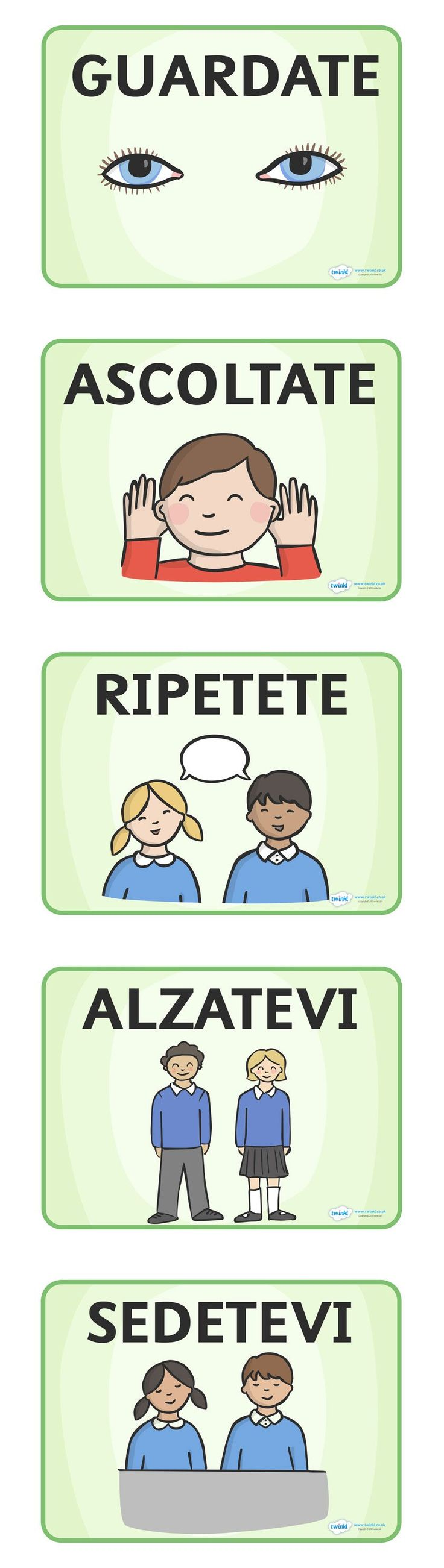 Italian Class--> Classroom printables for beginners. #Italian, language, flash cards, home schooling, activity