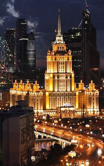 Monumental Moscow at night and the bright Radisson Royal Hotel. The building is one of the Seven Sisters, a group of seven skyscrapers in Moscow designed in the Stalinist style. This 'sister' was built in 1957. #learnrussian #studyrussian #russianlanguage #learningrussian #русскийязык
