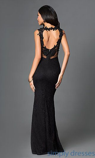Shop floor length black lace formal gowns at SimplyDresses. Long black prom dresses with sheer mesh open backs for military ball or holiday parties.