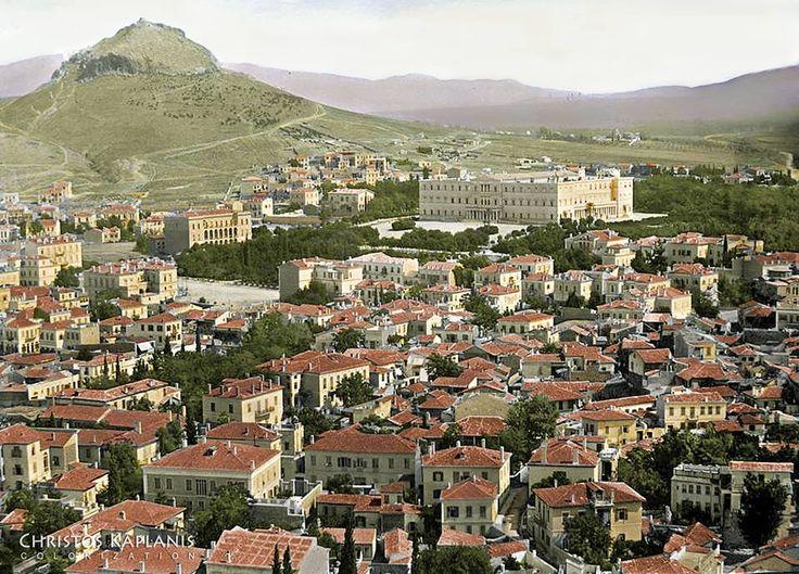 """Η Αθήνα το 1865. Η αρχική φωτογραφία αποδίδεται στον Δημήτριο Κωνσταντίνου. Επιχρωματίστηκε από τον Χρ. Καπλάνη Πηγή: Past in Color (η φωτογραφία προέρχεται από τη """"Μηχανή του Χρόνου"""", social media Facebook page"""