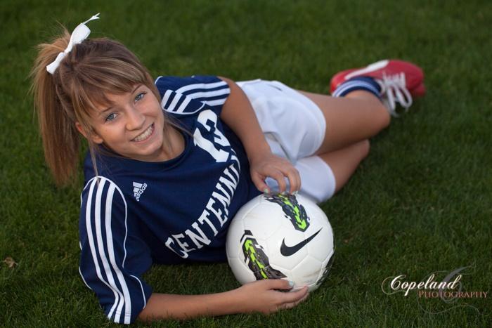Senior Portrait Soccer Pose © Copyright Copeland Photography Arizona Photographer