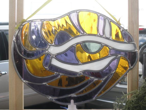 Love this!!!!!    LSU Tiger Eye Stained Glass by HEvansDesigns on Etsy, $110.00