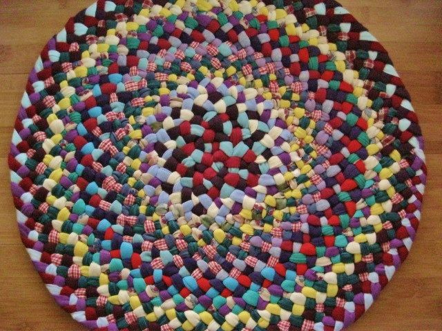 Handmade Braided Rug From Recycled Cotton.