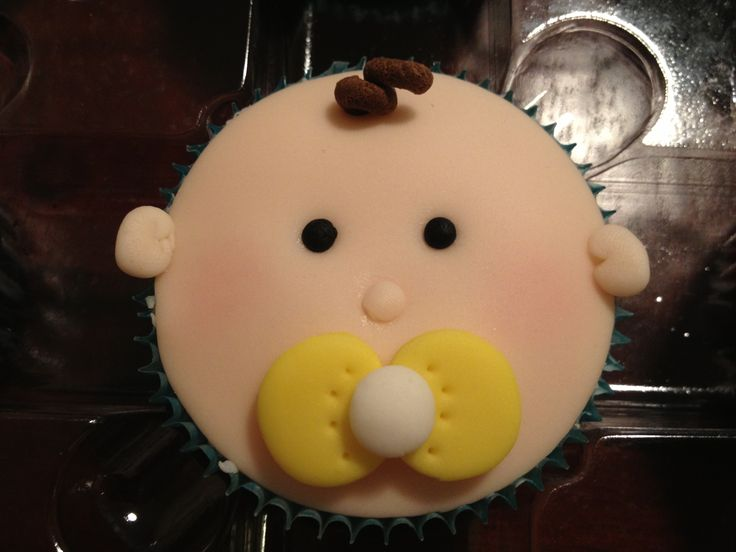 Baby Boy w/pacifier cupcake - could use a real binky or a candy one