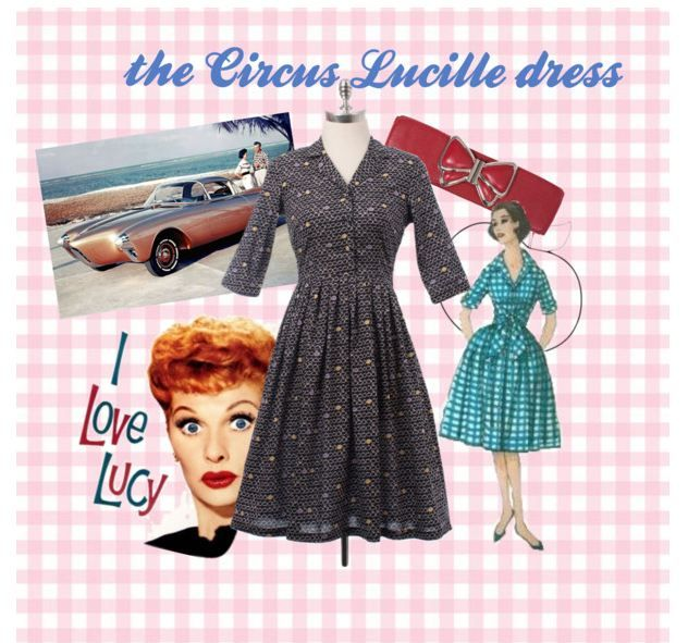 Quirky Lucille Ball was our inspiration for the Circus Lucille dress. Staying very true to the 1950's silhouette, this features half-sleeves, shirt collar and an Apple print. See it here: http://bit.ly/1opN43T #Vintage #retro #dress