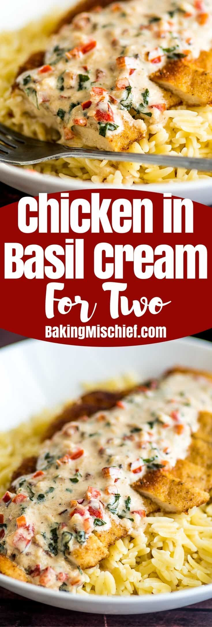 Easy Chicken in Cream Sauce for Two, crispy breaded chicken served over orzo or rice with a two-minute basil and Parmesan cream sauce. | #Chicken | #ChickenDinner | #DinnerForTwo |