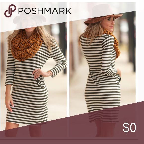"""Olive & Ivory Striped Dress This dress is a must have!! I'm in love with it! Bodycon striped with pockets. Perfect for Summer to Fall transition and can be worn all four seasons! Wear any type of shoe, jacket, or sweater and you've got several looks in one dress. Scarf or Necklace? You decide. So many looks with one Dress! 95% Rayon 5% Spandex Bust: (S) 17"""" (L) 19"""" Length (S) 35 (L) 37"""" True to size. Not *LuLaRoe* Boutique Dresses"""