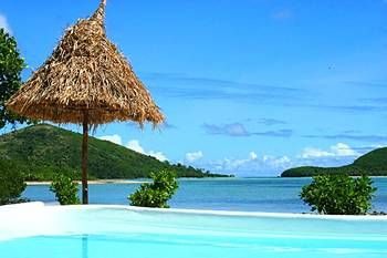 View of the lagoon from the pool at #NavutuStarsFiji #Fiji