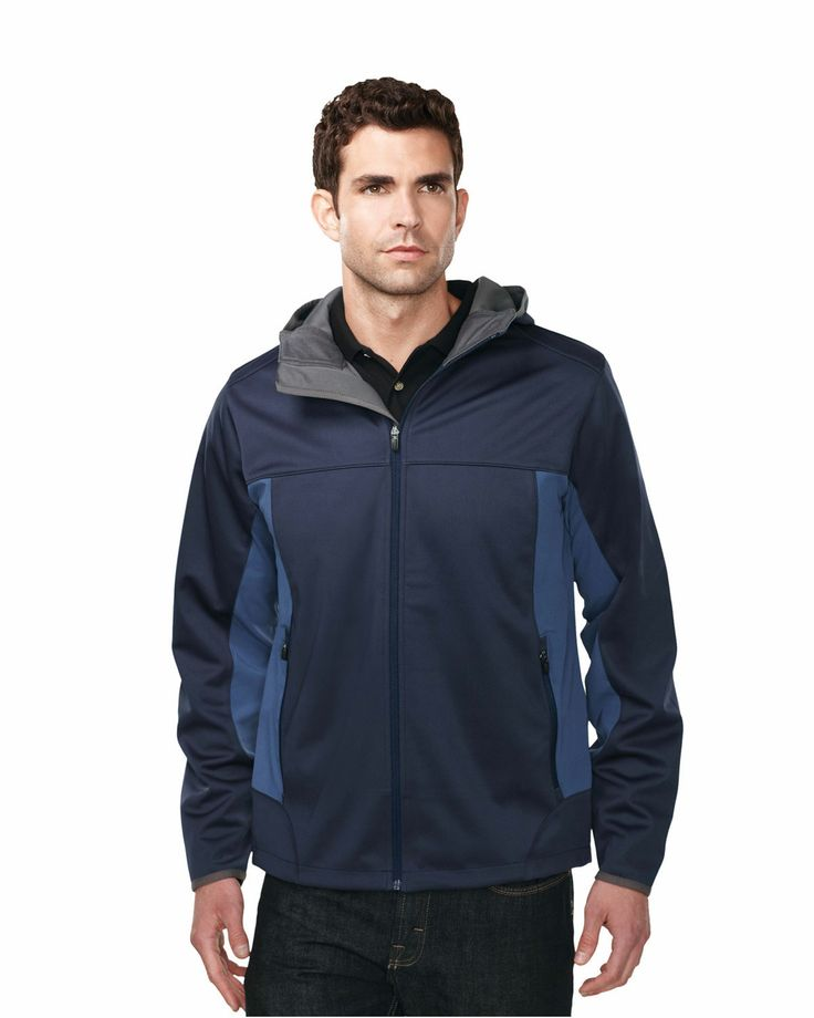 Hoody jacket mens contrast side panel with zipper pocket (100% polyester).  Tri mountain J6158 #Men #Trimountain #Cotton #Polyester #Hooded #Jacket