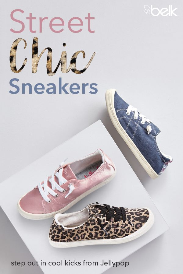 Jellypop has created the perfect sneakers! They're made with memory foam insoles for all-day comfort and boast an array of different colors, patterns and textures to match your unique style. Wear the leopard print pair with jeans and a tee and the girly pink when you're feeling extra sweet. Find these cool kicks in store and online at belk.com.