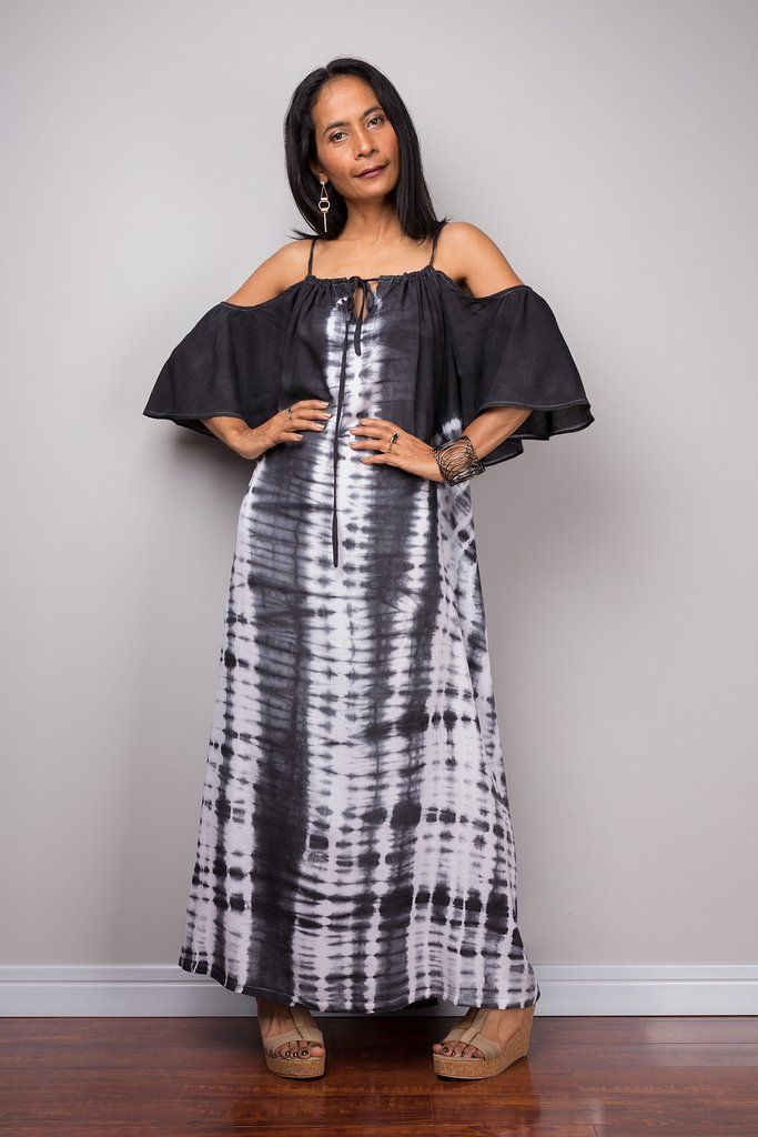 Black and white maxi dress with bandana design