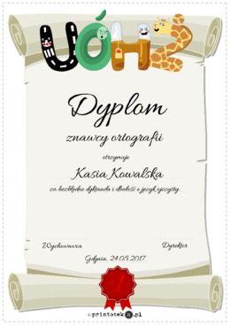 Dyplom dla znawcy ortografii - Printoteka.pl, dyplomy do edycji