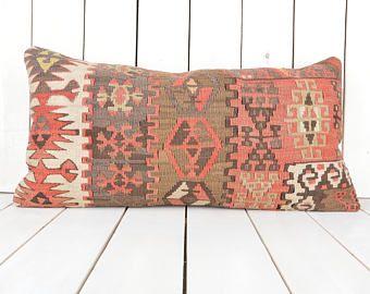 Almohada lumbar Kilim, 12 x 24 pulgadas, funda de almohada de 30 x 60 cm kilim, decoración para el hogar, decorativo almohada, almohada kilim turco, decoración para el hogar, almohadas