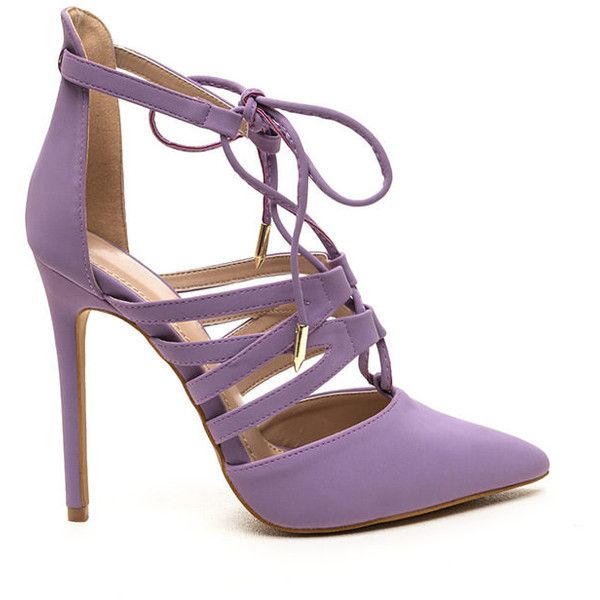 Make An Impression Lace-Up Heels LAVENDER (40 CAD) ❤ liked on Polyvore featuring shoes, purple, lace up shoes, lavender shoes, light purple shoes, laced shoes and laced up shoes