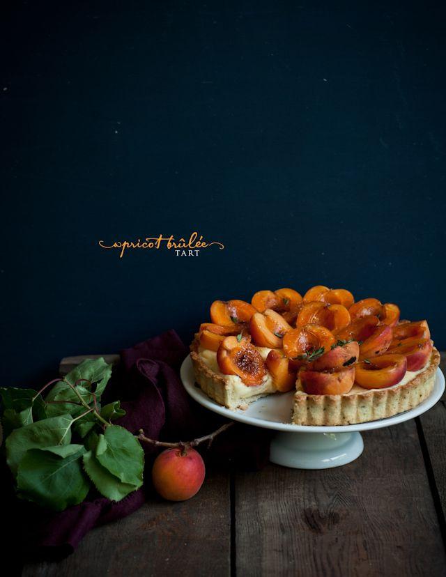 Apricot brûlée tart, with thyme and vanilla bean