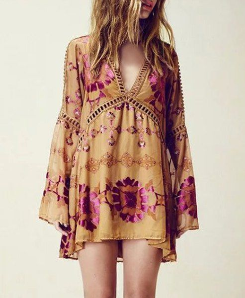 Stylish Plunging Neck Long Sleeve Loose Printed Dress For Women