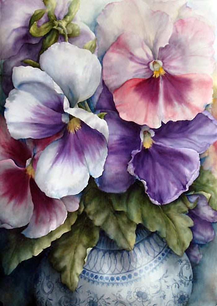 490 best pretty little pansies violets images on for Pretty flower paintings