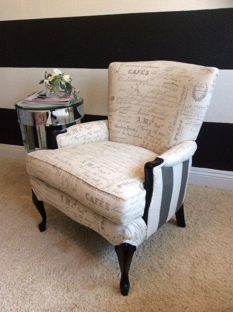 This Lovely Wingback Chair Is A Vintage Find, Newly Reupholstered With A  French Script Upholstery
