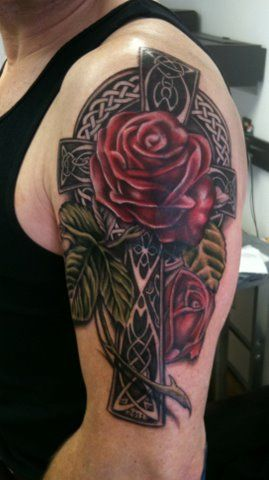 Celtic cross almost looks like what I want but much smaller rose add a hummingbird and I want the cross to be chain link hearts around the edge and rounded instead of squared