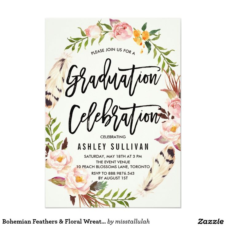 Best 25 graduation invitations ideas on pinterest grad invites bohemian feathers floral wreath graduation party card stopboris