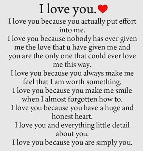 So true sweetheart I love you because you are you you are the best thing to ever happen to me  ... LUMM...❤️❤️...@