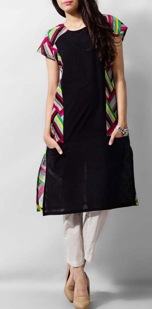 Black Ladies Cotton Kurti by PakRobe.com